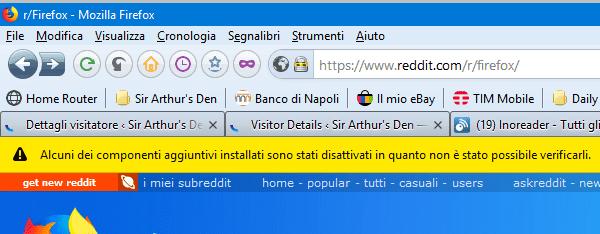 Firefox, componenti disattivati